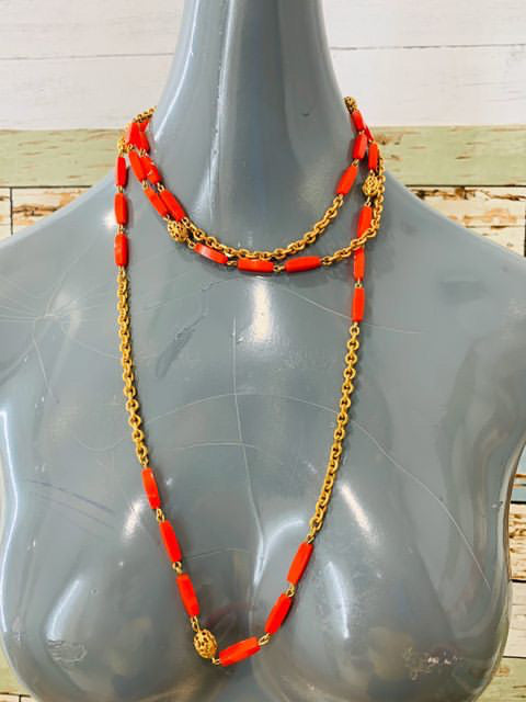 70s Chain Gold & Beads Extra Long Layer Necklace - Hamlets Vintage