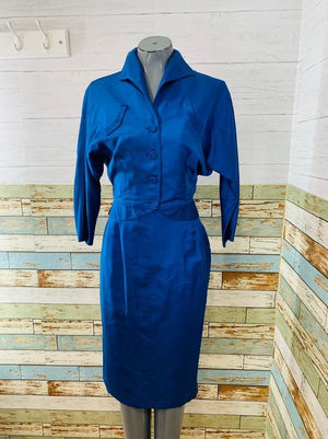 60s Royal Blue Suit Skirt Set  By Lillie Rubin