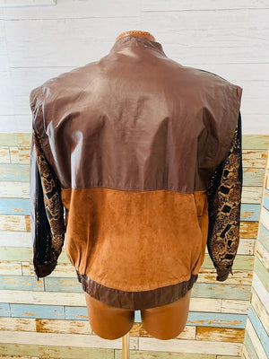 80s - Suede Leather & Print | Bomber Jacket - Hamlets Vintage