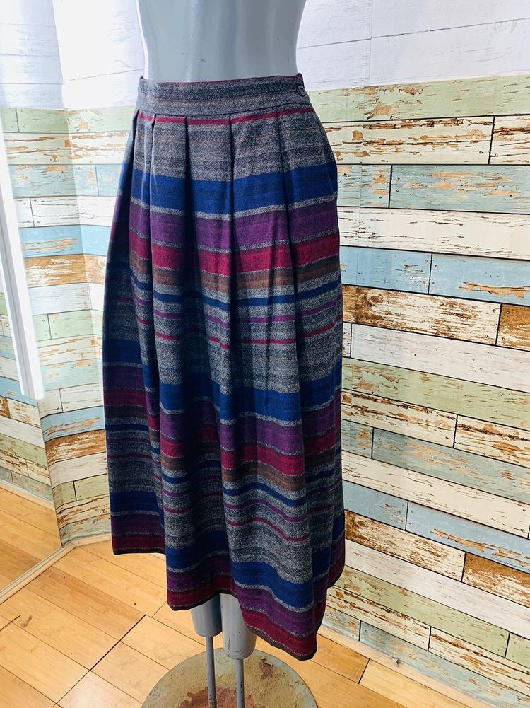 80's Multicolor Stripe Wool Skirt  By Cathy Hardwick