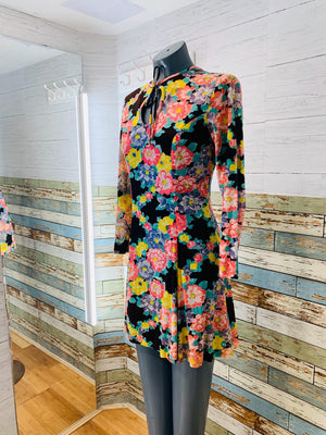 70's Long Sleeve - Floral Print Keyhole Dress - Hamlets Vintage