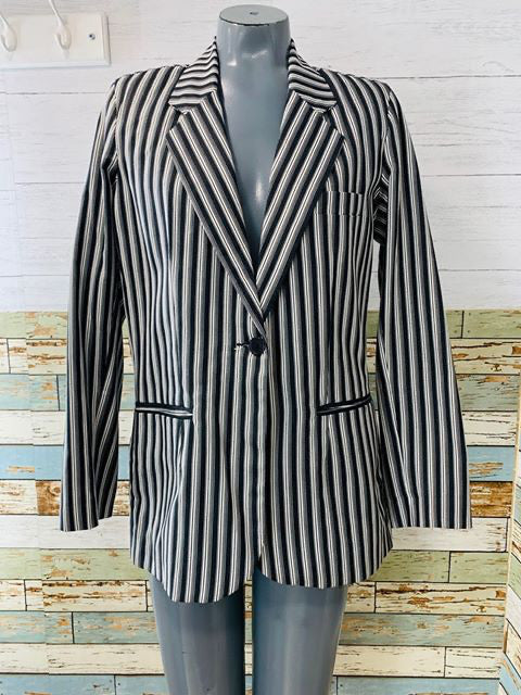 90s Black & White Stripe Blazer  By Tower Hill