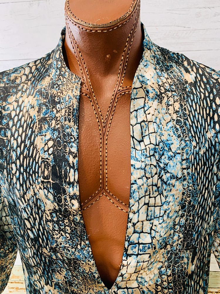 Varsos & Co. - Open Front Snake Print Tunic Shirt - Hamlets Vintage