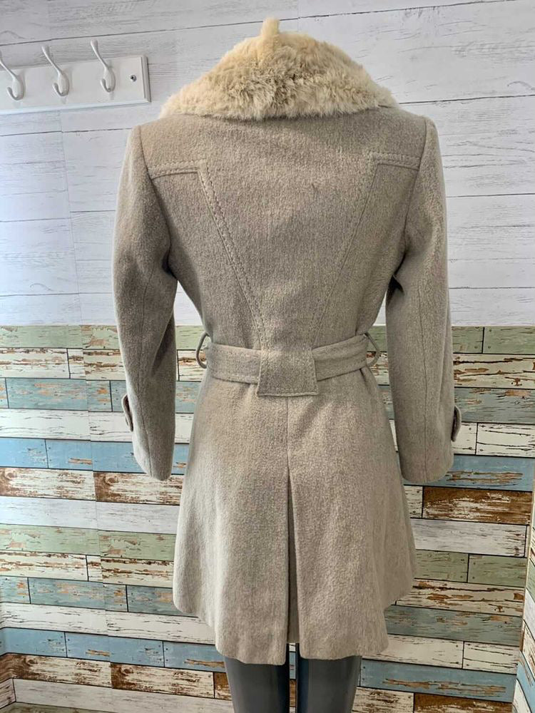 70s Double Breasted 3/4 Coat With Rabbit Fur Collar By Country Placer