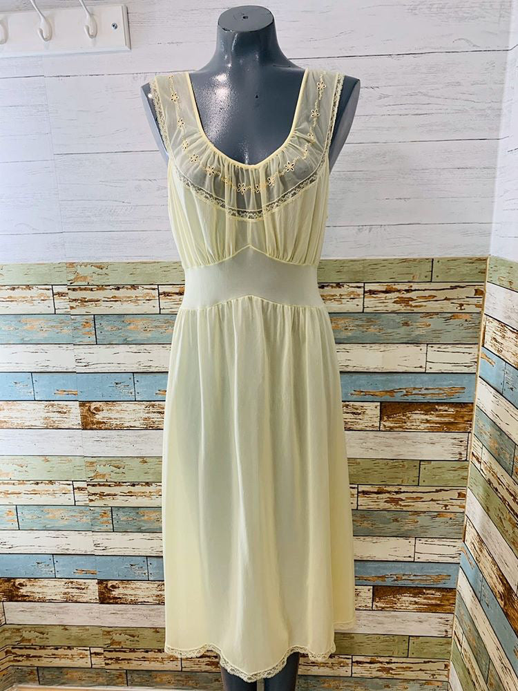 60s Pale Yellow Embroiled Slip Dress