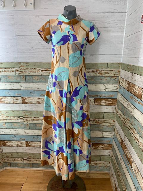 70s Cap Sleeve Maxi Flower Print Dress