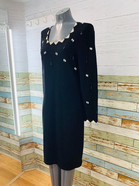 90s long Sleeve Dress with Stones & Beads