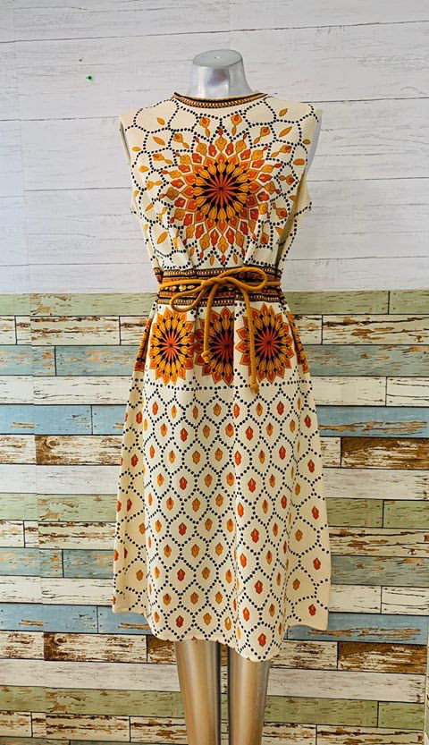 60s - Sunflower No Sleeve Print Dress - Hamlets Vintage