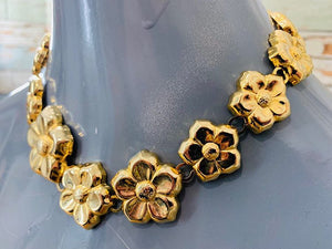 80s - Multicolor Flower Necklace - Hamlets Vintage
