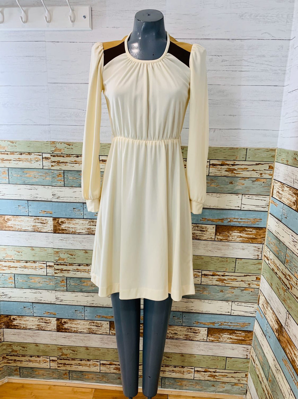 70's Long Sleeve - Ivory A Line Dress - Hamlets Vintage