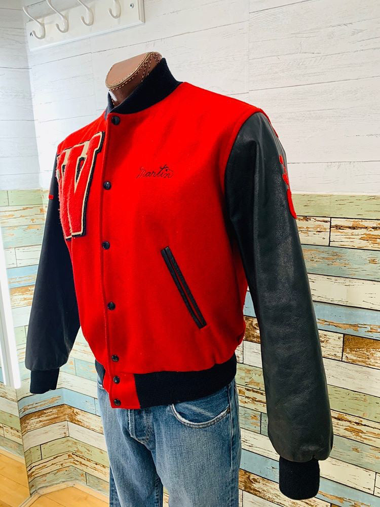 80's Wool Varsity jacket with Leather Sleeve