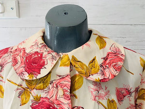 60s Roses Print 3/4 Sleeve Blouse  By Diane young