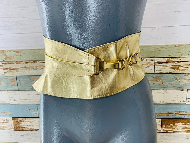80s - Metallic Gold Belt With Metal Clip - Hamlets Vintage