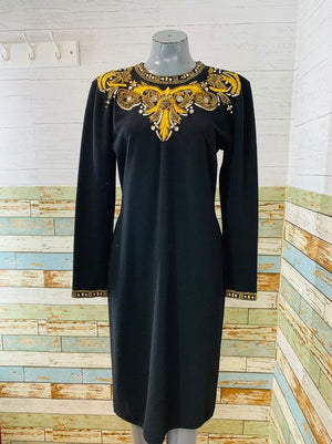 90s Long Sleeve Embroiled Beads Dress  By Adrienne Vittadini