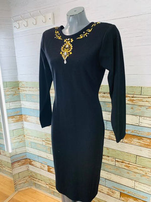 90s Long Sleeve Dress With Embroiled Beads  By Raoul