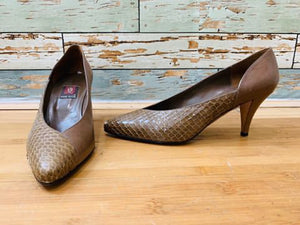 80s leather & Snake Skin Shoes - Hamlets Vintage