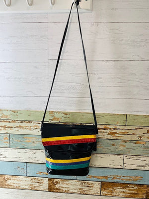90s - Multicolor Stripe Snake Patten Bag - Hamlets Vintage