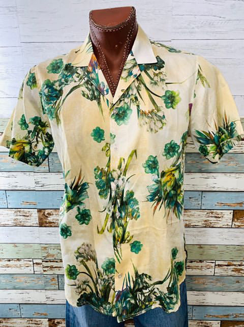 Varsos & Co. - Green Flower Print Short Sleeve Shirt - Hamlets Vintage