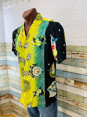 Multicolor Silk Abstract Print & Flowers Short Sleeve Shirt  By. Varsos & Co.