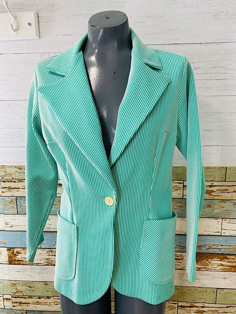 70s - Seersucker By Queens Way To Fashion | Blazer - Hamlets Vintage