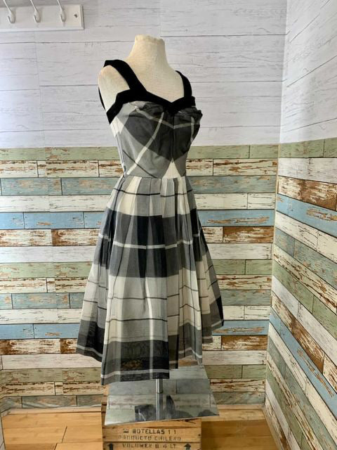 1950s Plaid Black & White Dress With Velvet Trim