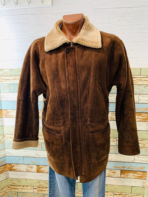 80's Zip Suede Coat  By Denimax  Tag Size Large