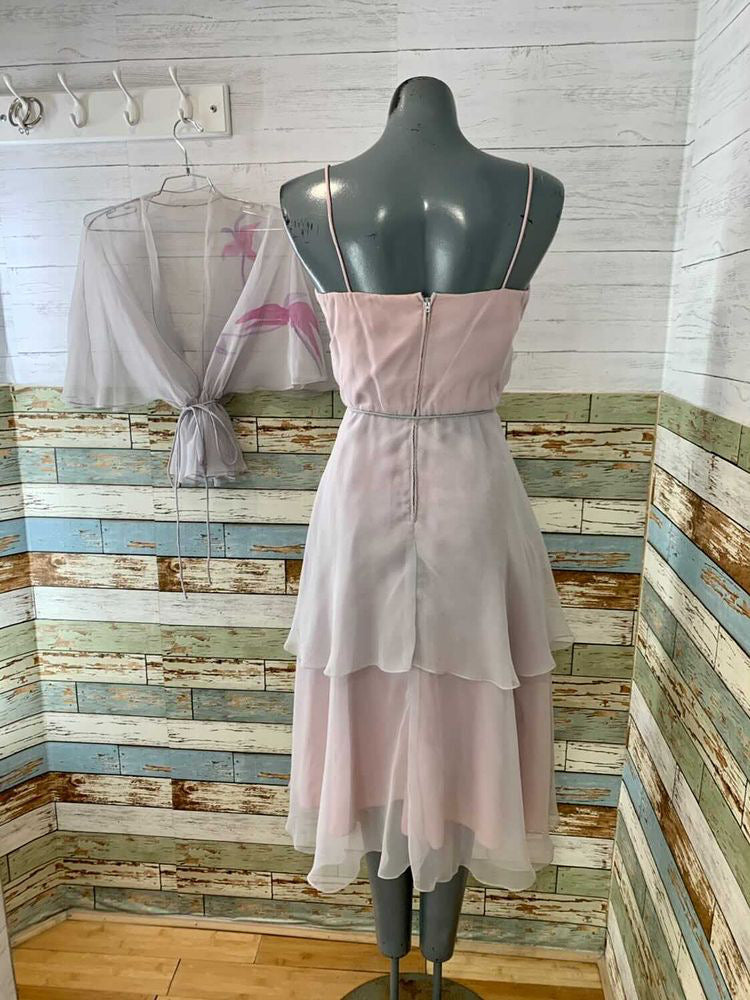 70s Spaghetti Straps With Layers Two Piece Dress Set