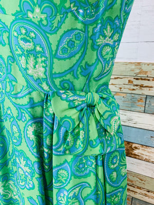 60's Sleeveless - Green and Blue Paisley Midi Dress - Hamlets Vintage