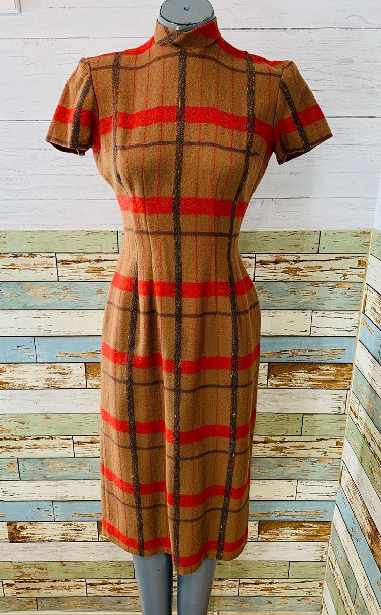 50's - Striped Wool Dress by Young Moderns - Hamlets Vintage