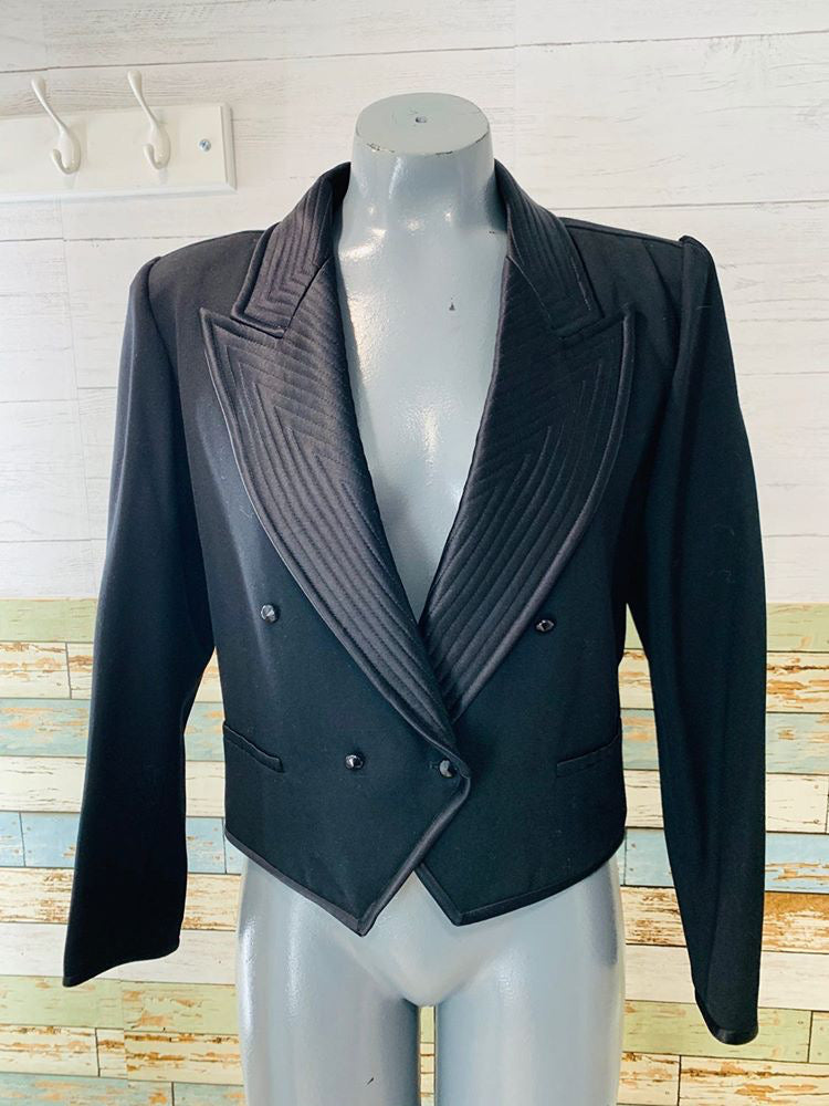 80s - Emanuel Ungaro Double Breasted Crop Tuxedo Style Blazer