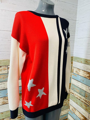 80s EPB Easy by Eleanor Brenner flag inspired sweater - Hamlets Vintage