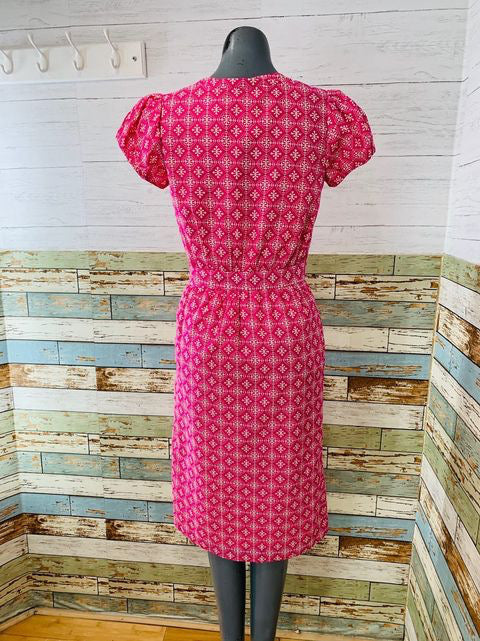 40s Short Sleeve Print  Dress