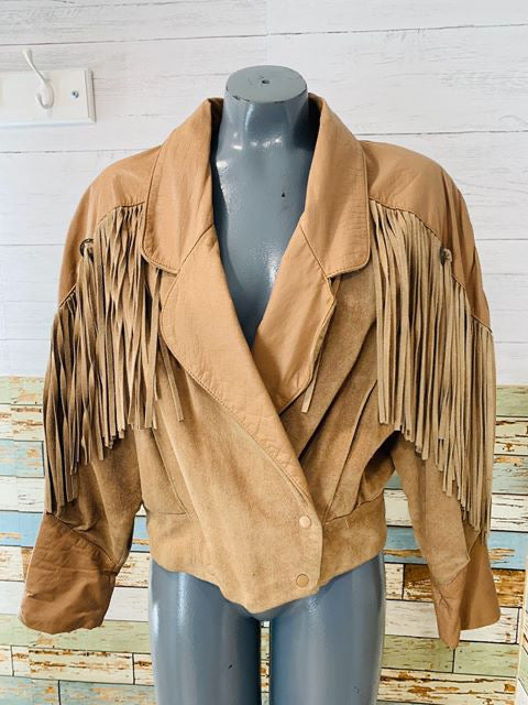 80s Leather & Suede Beige Fringe jacket - Hamlets Vintage