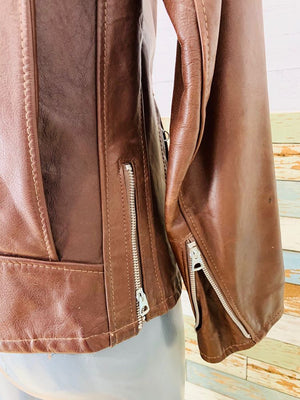 90s - Leather Zip Motorcycle Brown Jacket With Removable Lining  By Schott Nyc