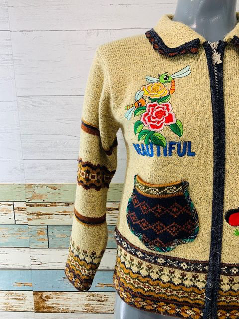 90s - Zip Wool patch Sweater - Hamlets Vintage