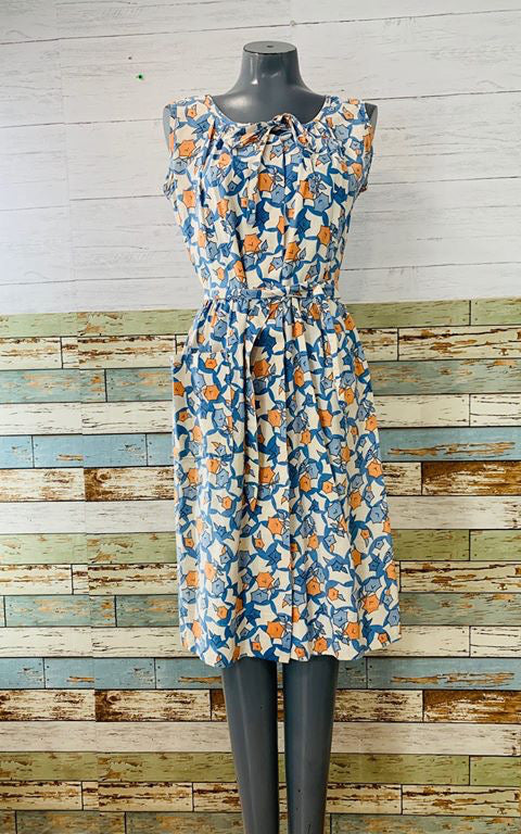 60s - Abstract Flower Day Dress With One Size Pocket - Hamlets Vintage