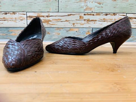 80s Braid Lower Heel Shoes - Hamlets Vintage