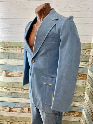 70s Denim Top Stitched Sport Jacket By His American Fashion Collection