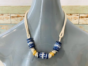 80s Ceramics Barrel Chocker Necklace - Hamlets Vintage