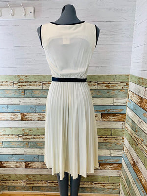 70s - Beige Dress With Plead Skirt & Navy Belt & Sleeve Trim - Hamlets Vintage