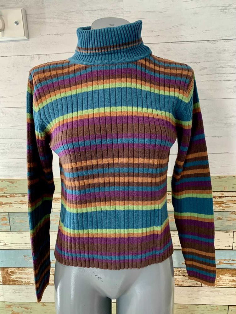 90s Multicolor Stripes Long Sleeve Turtle Neck Sweater By Crossroads  Size Medium