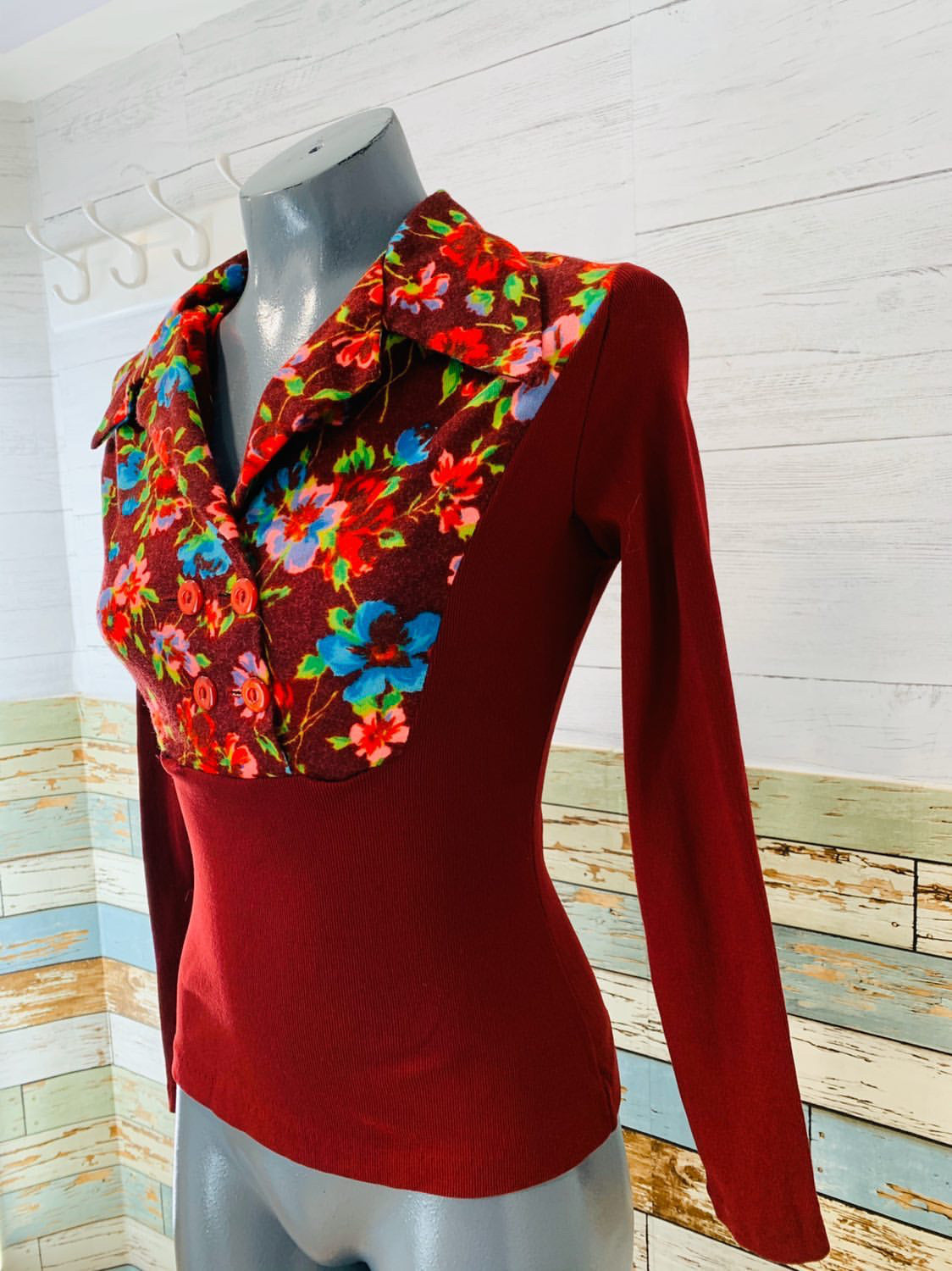 70's Long Sleeve - Collared Burgundy | Blouse - Hamlets Vintage