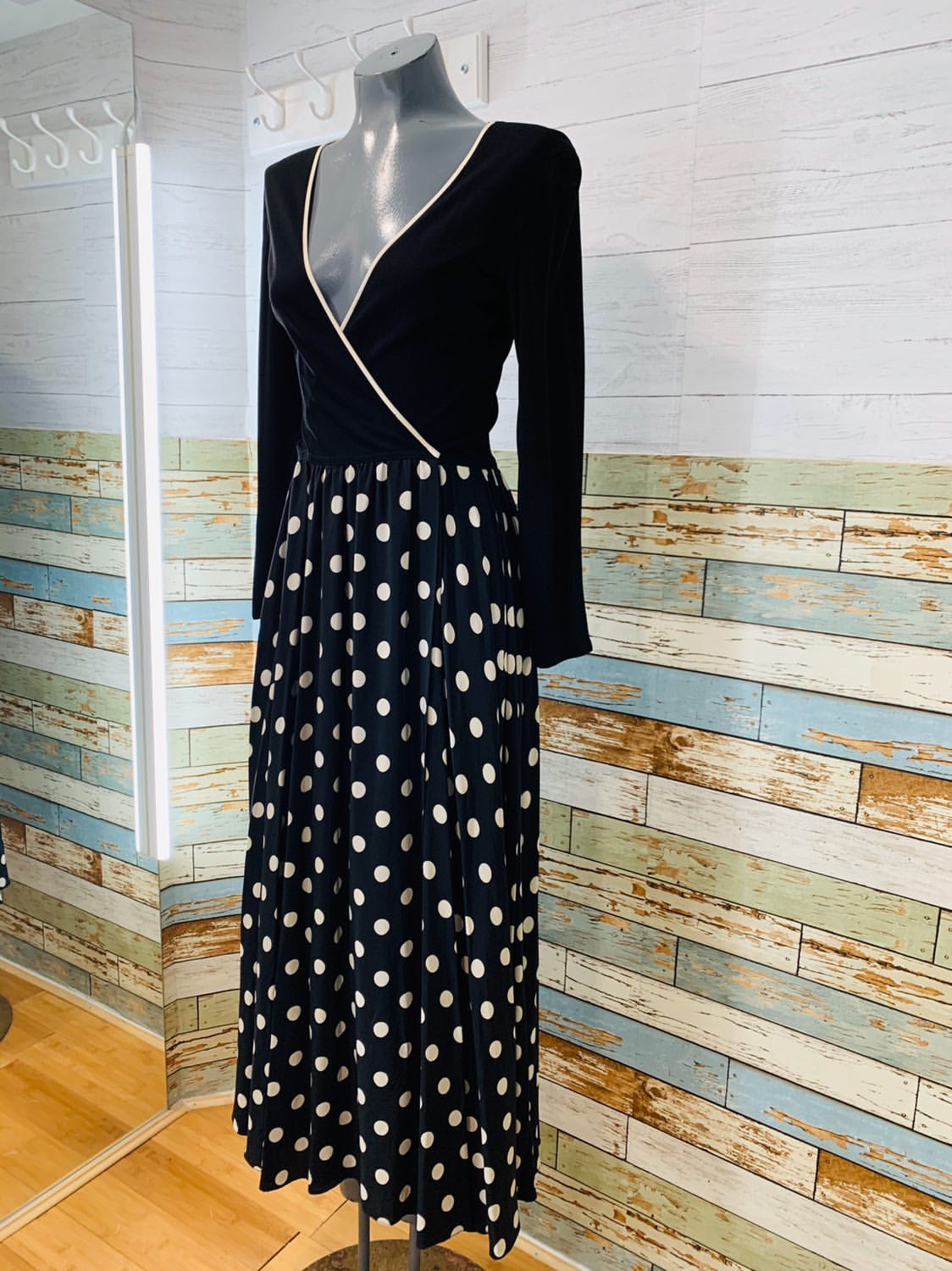 90's Black and WhitePolka Dot Maxi Dress - Hamlets Vintage