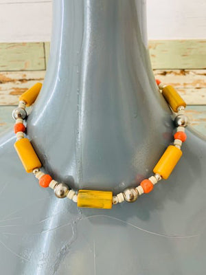 80s Multicolor Mix Beads Chocker Necklace