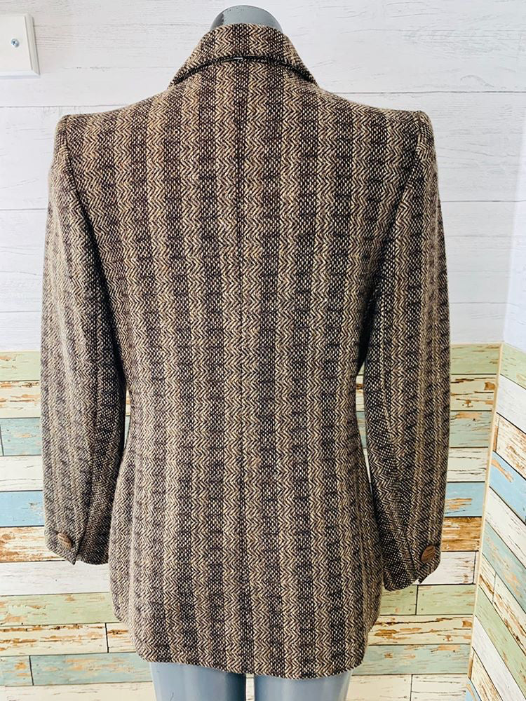 00s - Yves Saints Laurent Brown & Grey Wool | Blazer - Hamlets Vintage
