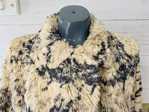 60s Grey & Cream Faux plush Coat - Hamlets Vintage
