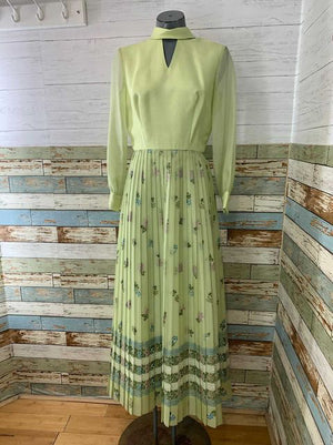 70s long Sleeve Print Dress With Pleaded Skirt   By Shaheen
