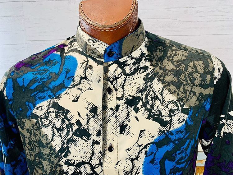 Long Sleeve Silk Print Shirt  By Varsos & Co