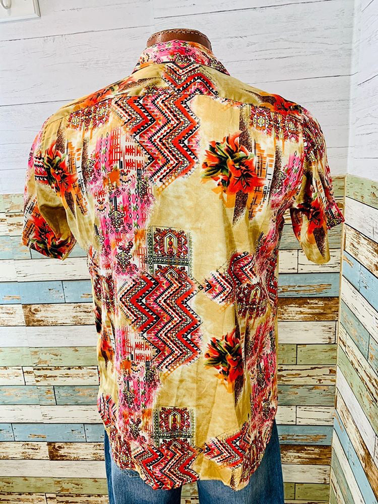 Short Sleeve Satin Print Shirt  By Varsos & Co.