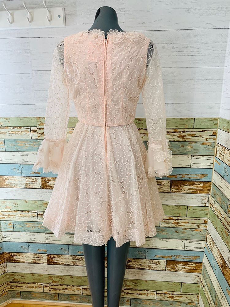 70s Pale Pink Double Layer Flower With Cutoff Details On Sleeve Short Dress - Hamlets Vintage